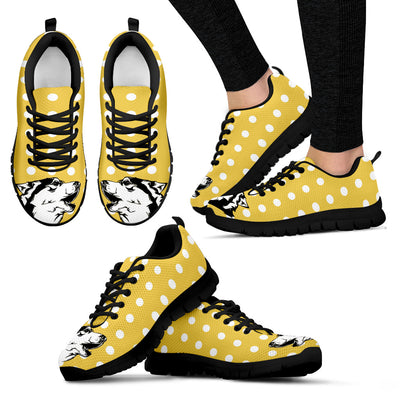 Siberian Husky Face Pastel Yellow White Dot Vintage Sneakers