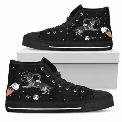 German Shepherd Astronaut Flying In Space Eating Ice Cream High Top Shoes