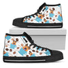 Coffee German Shepherd Fabric Pattern High Top Shoes