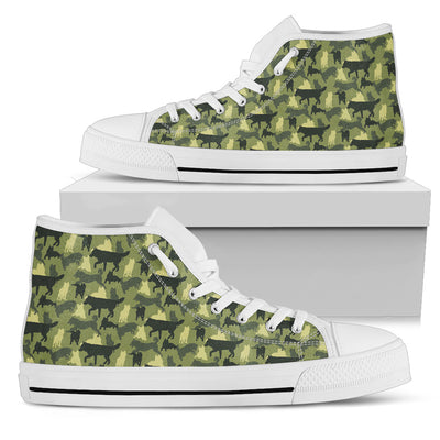 Camouflage Soldier Military Siberian Husky High Top Shoes