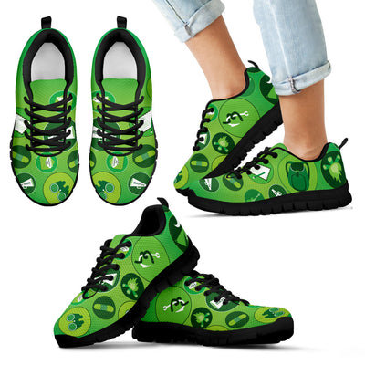 Girl Scouting Badges Pattern Green White Sneakers
