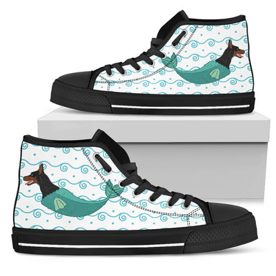 High Top Shoes Doberman Mermaid Unicorn Cute Beach Swim