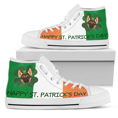 Happy St. Patrick's Day German Shepherd High Top Shoes