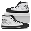 Simple Elephant Face Cute Black And White High Top Shoes