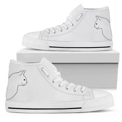 Simple Cat Face Cute Black And White High Top Shoes