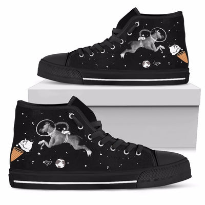 Boxer Astronaut Flying In Space Eating Ice Cream High Top Shoes