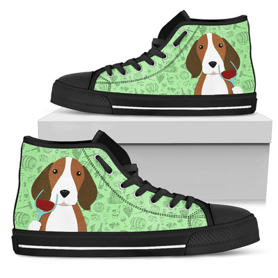 Beagle Drinking Wine High Top Shoes
