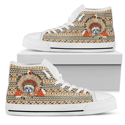 Indian Schnauzer Ethnic Pattern High Top Shoes
