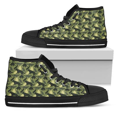 Camouflage Soldier Military German Shepherd High Top Shoes