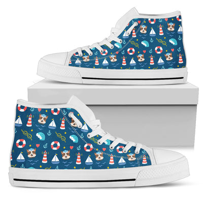 Nautical Pitbull Fabric Pattern High Top Shoes