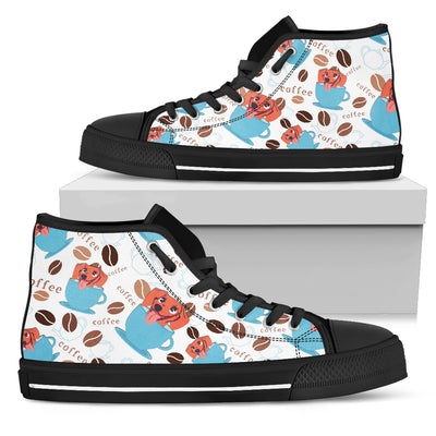 Coffee Dachshund Fabric Pattern High Top Shoes