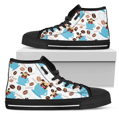 Coffee Pug Fabric Pattern High Top Shoes