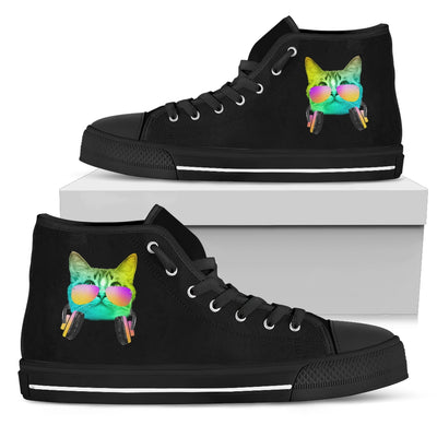DJ Music Headphone Cat High Top Shoes