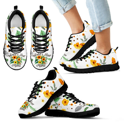 Vintage Flower White Watercolor Mama Sneakers