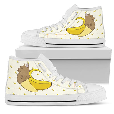High Top Shoes Cat Inside Banana Funny Gift