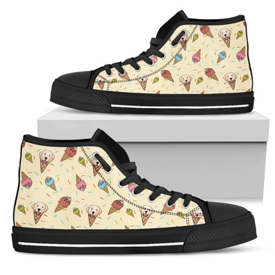 Labrador Ice Cream Fabric Pattern High Top Shoes