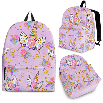 Unicorn Horn Motif Flowers And Heart Backpack