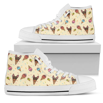 Chihuahua Ice Cream Fabric Pattern High Top Shoes