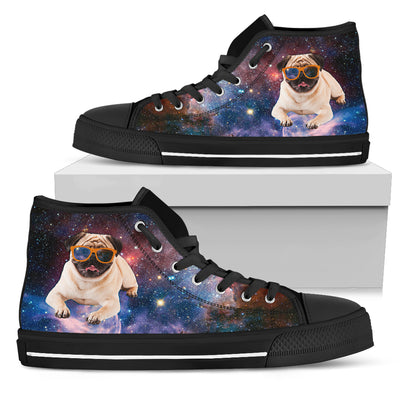 Galaxy Space Flying Pug High Top Shoes