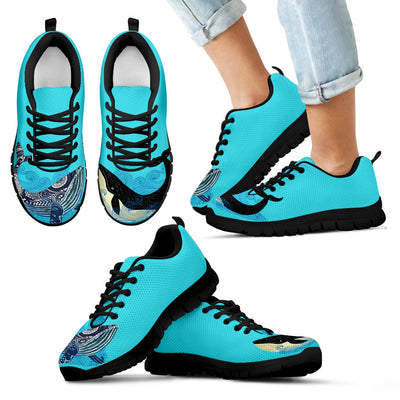Whale Black Blue Wave Amazing Lovely Sneakers