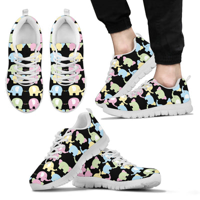 Baby Elephant Pastel Dot Mini Stripes Pattern Sneakers