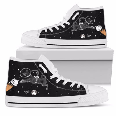 Rottweiler Astronaut Flying In Space Eating Ice Cream High Top Shoes