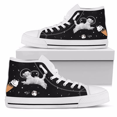 Poodle Astronaut Flying In Space Eating Ice Cream High Top Shoes