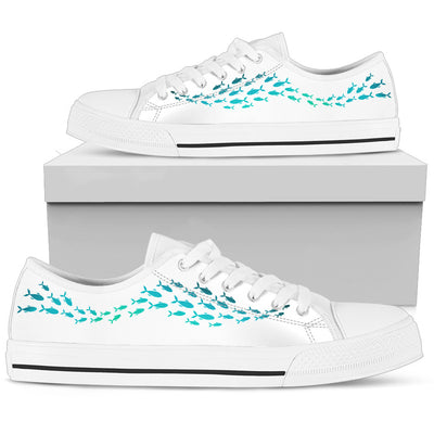 Whale Blue White Wave Lovely Low Top Shoes