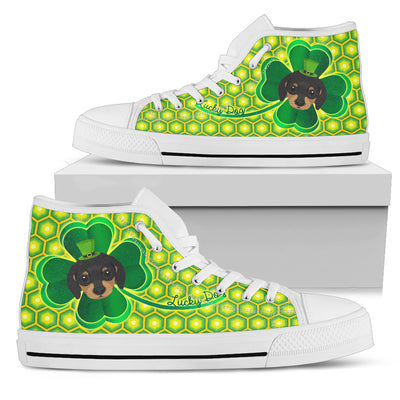 Happy St. Patrick's Day Vintage Style Dachshund High Top Shoes