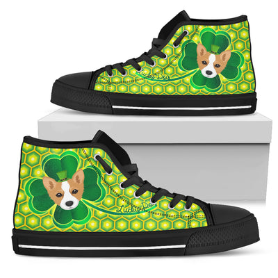 Happy St. Patrick's Day Vintage Style Corgi High Top Shoes