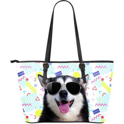 Husky Wearing Sunglasses Fashionable Pattern Leather Bag