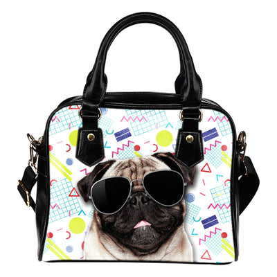 Pug Wearing Sunglasses Fashionable Pattern Shoulder Handbag