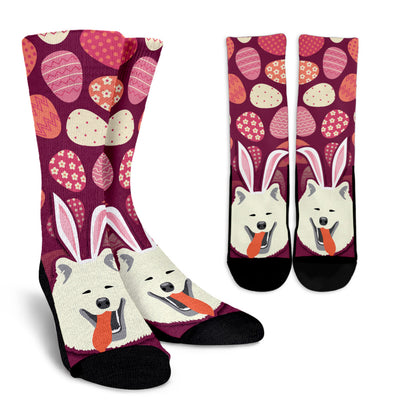 Easter Samoyed Pattern Socks