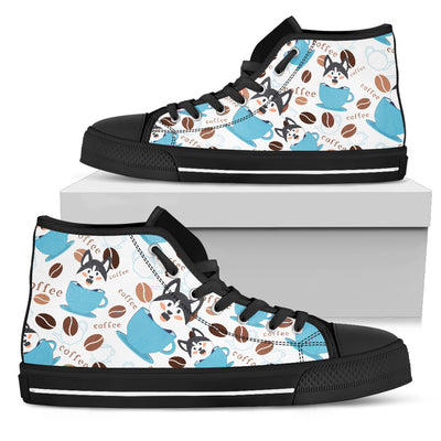 Coffee Husky Fabric Pattern High Top Shoes
