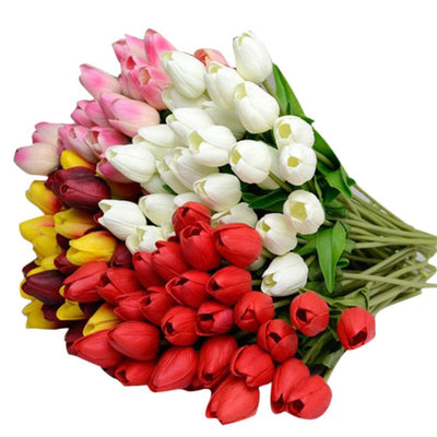 10PCS Tulip Artificial Flowers Latex Real Touch Bridal Bouquet Home Handled