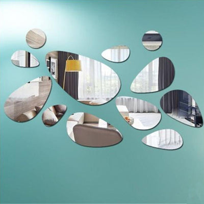 12Pcs/Set 3D DIY Decoration Mirror Wall Sticker For Modern Background Handled