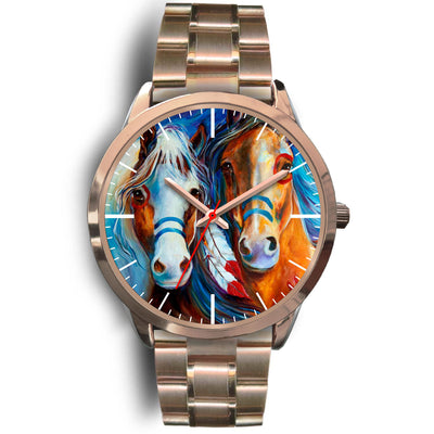Two Horses Oil Pattern Gold Watch