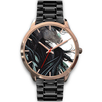Black White Horse Gold Watch
