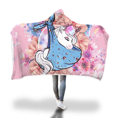 Baby Unicorn Flowers And Heart Hooded Blanket