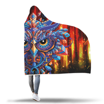 Spirit Owl Black Sunset Pattern Hooded Blanket