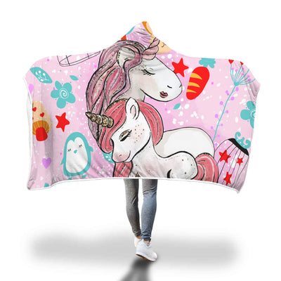 Mother and Daughter Hugging - Unicorn Love Hooded Blanket