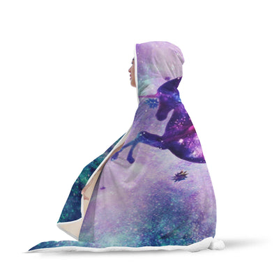 Cosmic Unicorn Fantasy Stars Galaxy Hooded Blanket