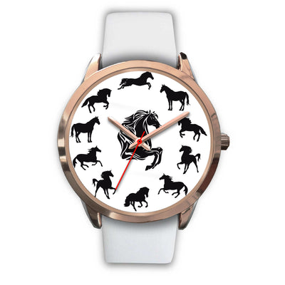Equestrian Gift For Horse Lover Black And White Horse Watch