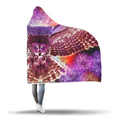 Beautiful Rainbow Owl Hooded Blanket