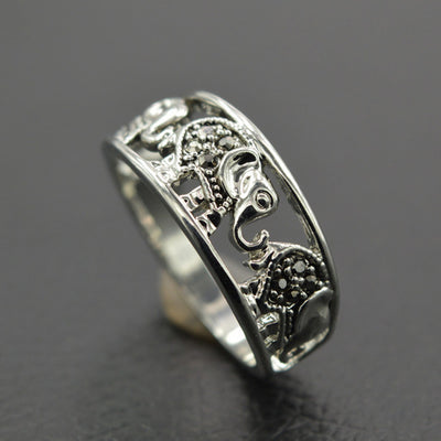 Antique Silver Elephant Ring Vintage Hollow Animal Black Crystal Rhinestone Handled