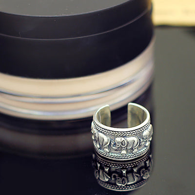 Sterling Silver Vintage Punk Silver Elephant Totem Heavy Opening Ring Handled