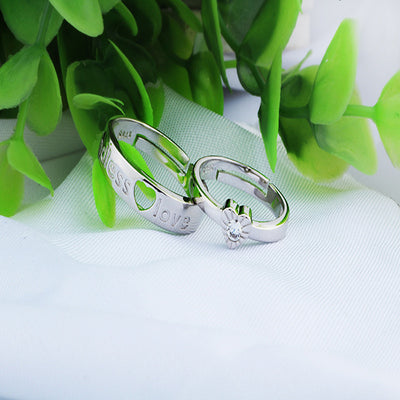 100% Sterling Silver Luxury Sparkling Crystal Couple Heart-Shaped Ring Handled