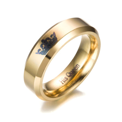 Lovers Her King His Queen Crown Ring For Couples Gold Color Titanium Steel Handled