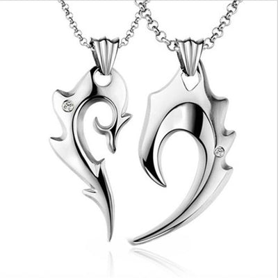 2Pcs/Set Silver Stainless Steel Couple Heart Pendant Necklace For Lovers Handled