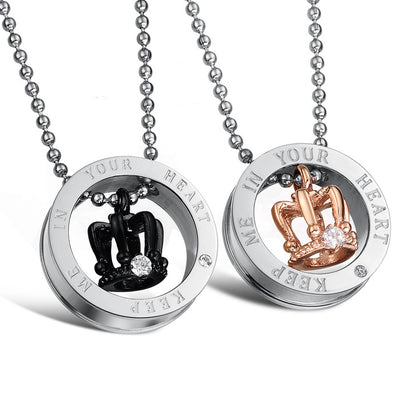 Stainless King/Queen Keep Me In Your Heart Engraved Crown Couple Necklace Handled